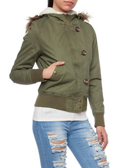 Hooded Bomber Jacket with Removable Faux Fur Trim - 3086054266919