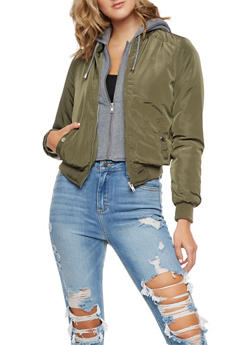 Layered Bomber Jacket with Hood - 3086054266922