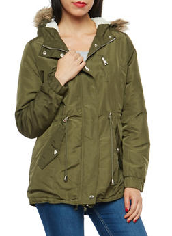 Sherpa Lined Hooded Jacket - OLIVE - 3086054268872