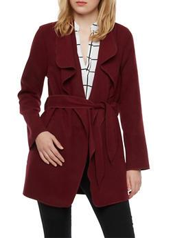 Oversized Draped Shawl Collar Jacket with Belt - 3086054269172