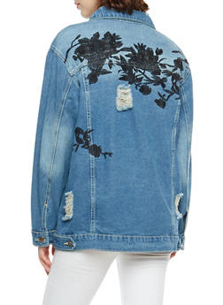 Embroidered Destroyed Denim Jacket - 3086058932359
