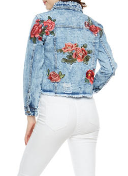 Rose Embroidered Frayed Denim Jacket - 3086058933641