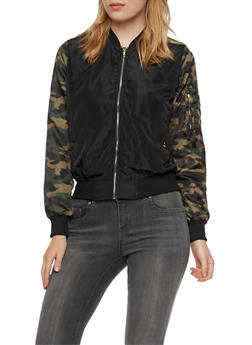 Satin Bomber Jacket with Utility Pocket - 3086058934008