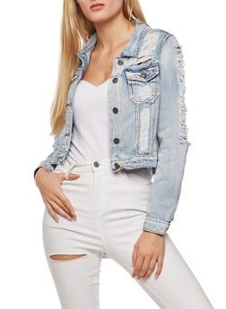 Destroyed Long Sleeve Cropped Denim Jacket - 3086058935041