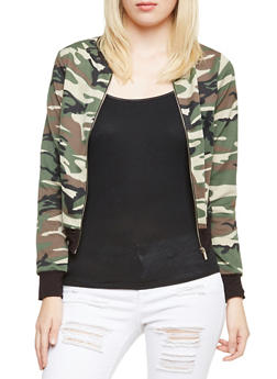 Bomber Jacket with Camouflage Print - 3086063408532