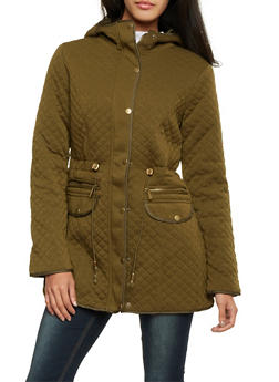 Quilted Jacket with Hood - OLIVE - 3086064212828