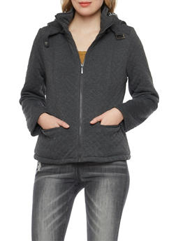 Quilted Jacket with Removable Hood - CHARCOAL - 3086064212867