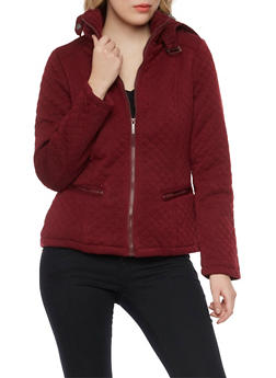 Quilted Jacket with Removable Hood - BURGUNDY - 3086064212867