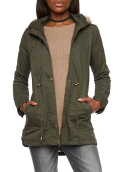 Hooded Jacket with Drawstring and Faux Fur Trim - 3086064212907
