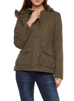 Hooded Jacket with Faux Fur Trim - 3086064212974