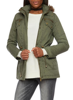 Drawstring Jacket with Faux Fur Trimmed Hood - 3086064213033