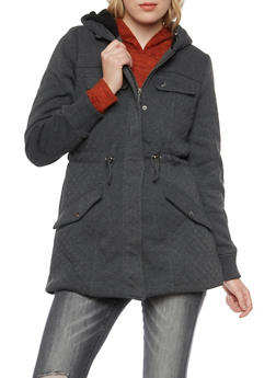 Quilted Panel Jacket with Sherpa Lining - 3086064213037