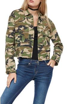Camo Print Button Front Jacket - 3086074002164