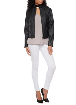 Faux Leather Biker Jacket - 3087051060940