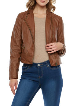 Faux Leather Sherpa Lined Moto Jacket - 3087051061250