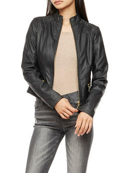 Faux Leather Zip Front Jacket - BLACK - 3087051061300