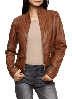 Faux Leather Zip Front Jacket - COGNAC - 3087051061300