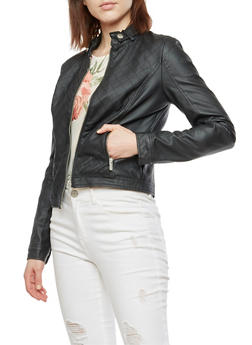 Faux Leather Quilt Stitched Jacket - 3087051061911