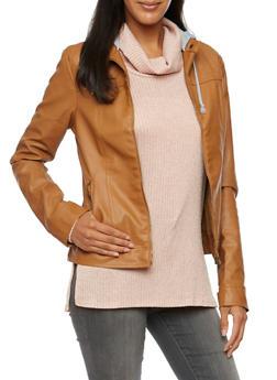 Faux Leather Jacket with Fleece Hood - 3087051062000