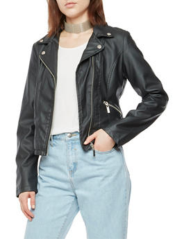 Faux Leather Zip Trim Moto Jacket - 3087051062111