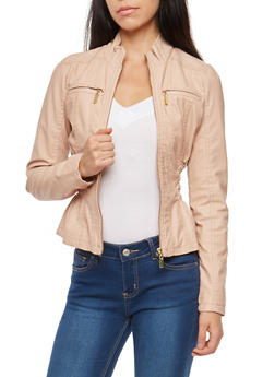 Smocked Cinched Waist Faux Leather Jacket - 3087051062600