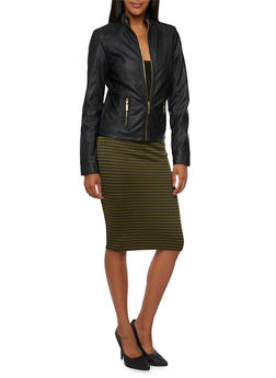 Faux Leather Jacket with Quilted Paneling - 3087051063610