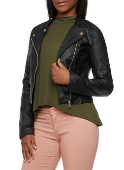 Faux Leather Jacket with Moto Stitching - 3087051064000