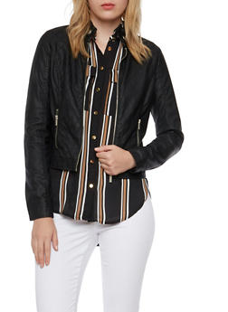 Faux Leather Jacket with Quilted Panels - 3087051064191