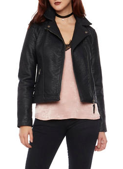 Faux Leather Biker Jacket with Zip Pockets - 3087051064398