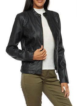 Faux Leather Jacket with Stitched Panels - 3087051064490