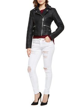 Faux Leather Moto Jacket - 3087051064536