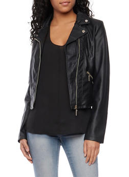 Leather Motorcycle Jacket with Zip Pockets - 3087051064721