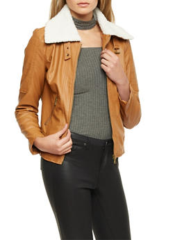 Faux Leather Jacket with Sherpa Collar - 3087051065081