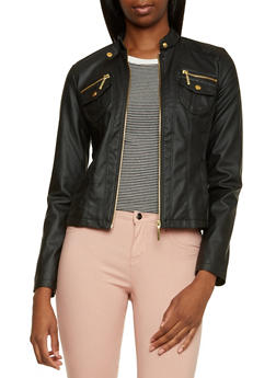 Faux Leather Moto Jacket with Zipper Accents - 3087051065083