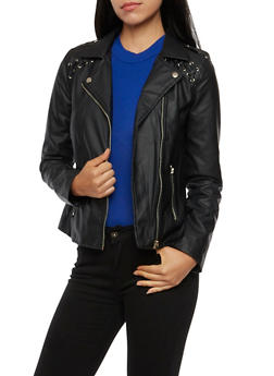 Faux Leather Moto Jacket with Zip Front - 3087051065158