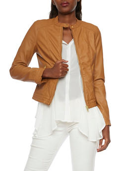 Faux Leather Jacket with Quilted Paneling - 3087051065199