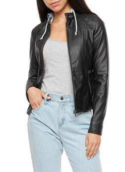 Faux Leather Hooded Jacket - 3087051065200