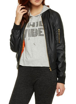 Faux Leather Bomber Jacket with Zip Front - 3087051065555