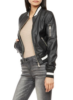 Faux Leather Varsity Stripe Bomber Jacket - BLACK - 3087051065787