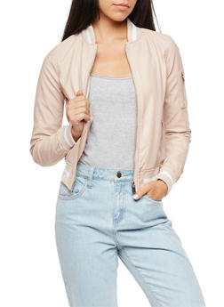 Faux Leather Varsity Stripe Bomber Jacket - BLUSH - 3087051065787