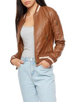 Faux Leather Varsity Stripe Bomber Jacket - 3087051065787