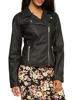 Faux Leather Moto Jacket - 3087051065950