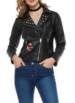 Faux Leather Studded Moto Jacket with Floral Embroidery - 3087051066078