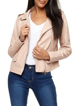 Tabbed Shoulder Faux Leather Moto Jacket - BLUSH - 3087051066083