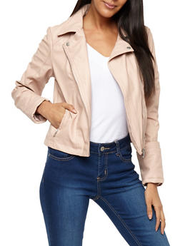 Button Collar Faux Leather Moto Jacket - 3087051066204