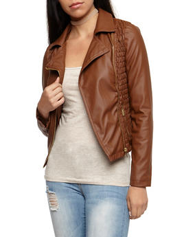 Faux Leather Multi Ruched Jacket - COGNAC - 3087051066350
