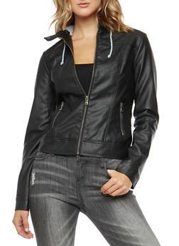 Fleece Hooded Faux Leather Jacket - 3087051066402