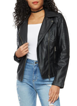 Quilted Zip Front Faux Leather Moto Jacket - 3087051066403