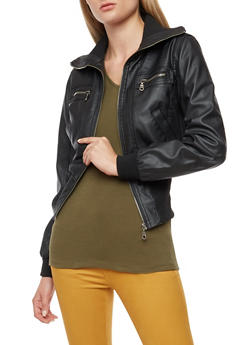 Faux Leather Rib Knit Trim Jacket - 3087051066406