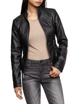 Faux Leather Ruched Jacket - BLACK - 3087051067000